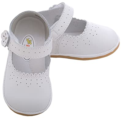 Amazon Com Angel Baby White Punched Flower Mary Jane Shoes Toddler