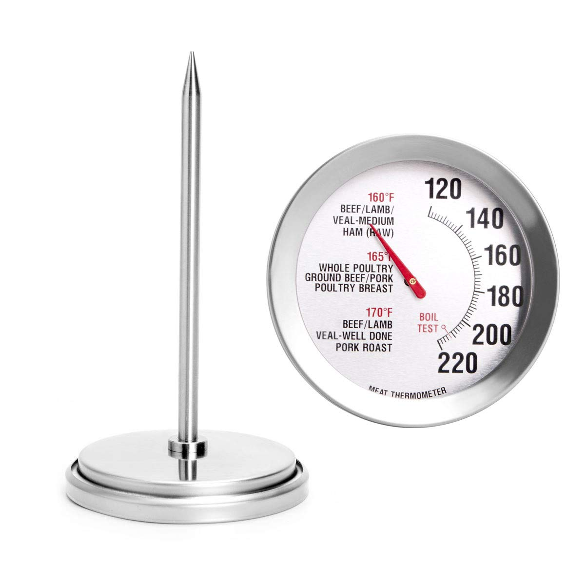 Meat Thermometer Extra Large Dial 2.8-Inch Meat & Poultry Thermometer Stainless Steel Safe Waterproof Classic Design BBQ Poultry Probe Cooking Meat Thermometer for Household Cooking Turkey Pork Beef…