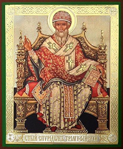St Saint Spiridon Russian Wooden Icon Gold Foil 4 1/2 - Wooden Icons Saints