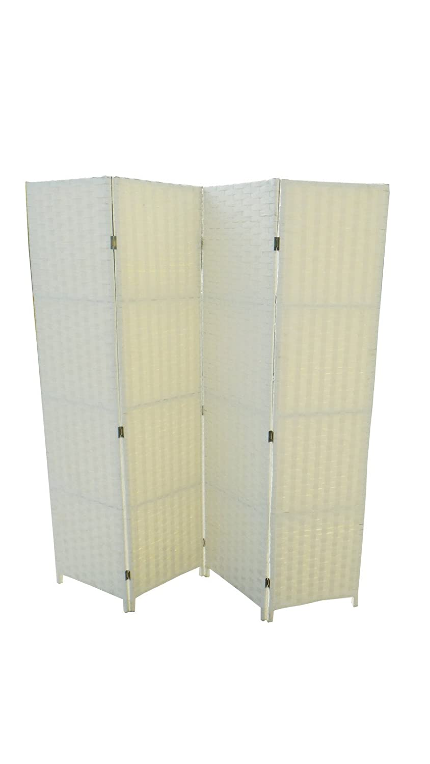 4 PANEL CREAM WICKER SCREEN ROOM DIVIDER Amazoncouk Kitchen Home