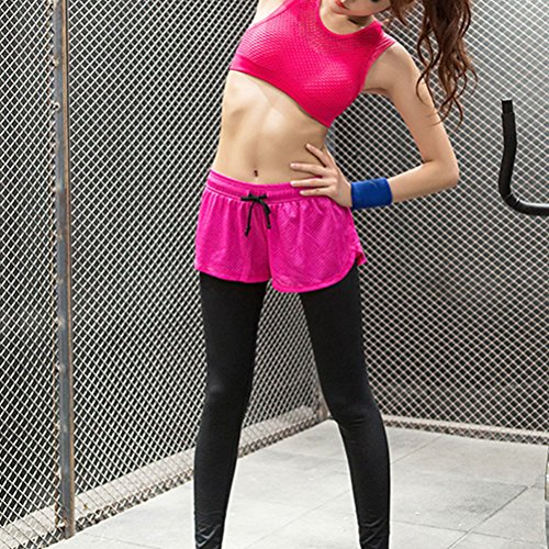 Zhhlaixing Women's Elastic Yoga Bra Sports Fitness Double-layer Bra Vest WX18 Rose Red