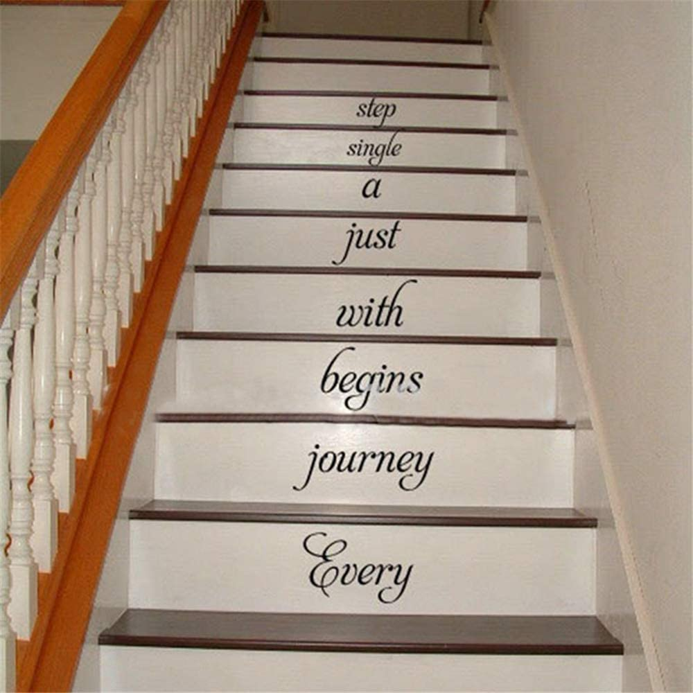 Decals Wall Stickers Sayings Lettering Room Home Wall Decor Mural Art Home Stair Decal Every Journey Begins .Stairway Decal Home Decor Wall Words Quotes