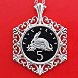 1975 Jamaica 5 Cents Gem Proof Cameo Coin Solid 925 Sterling Silver Necklace NEW - American Crocodile - Wildlife Animal
