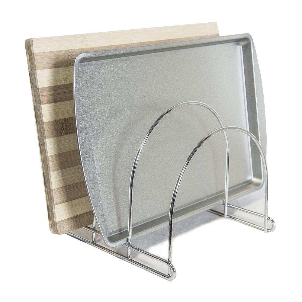 Steel Adjustable Organizer Rack, Cutting Board Rack, Bake Ware Rack, Pot Lid Holder, 3 Compartments