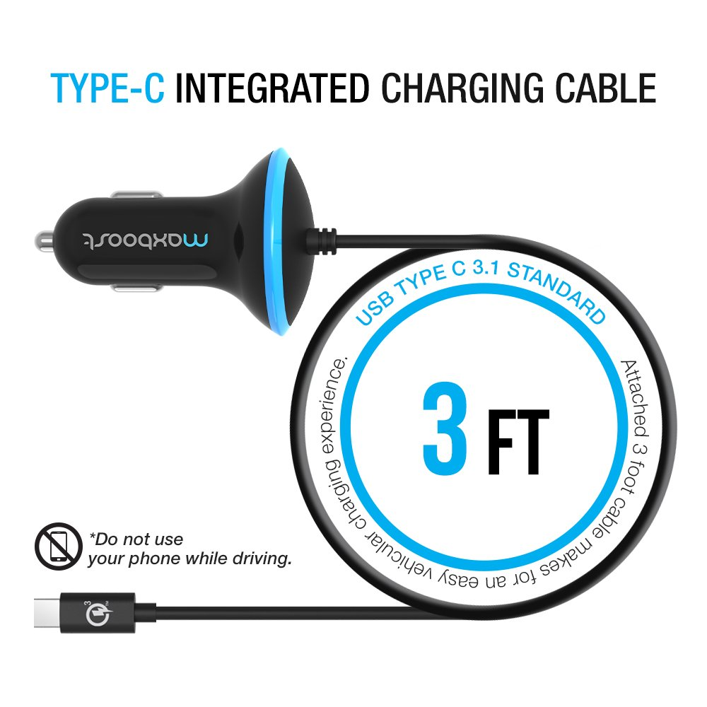 Type C Car Charger, Maxboost 36W Quick Charge 3.0 USB Port + Built-in USB C (3.1) Cable for Galaxy S9 S8 Plus, Note 8, LG G6 G5 V20, HTC 10, Nexus 6P 5X, Macbook, iPhone, OnePlus,Nintendo Switch by Maxboost (Image #2)