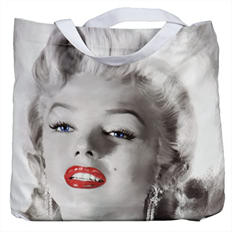 Marilyn Monroe Red Lips Canvas Tote Bag