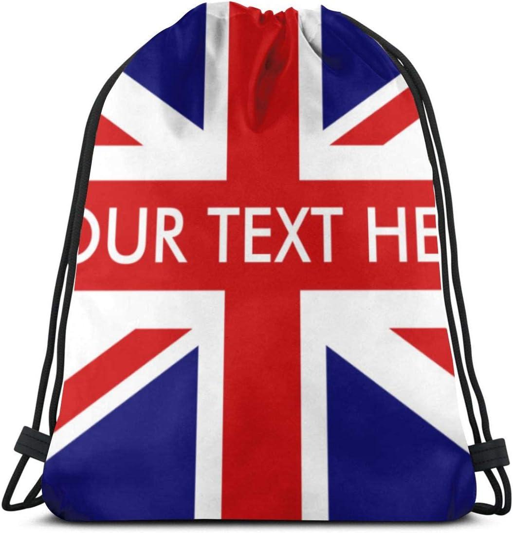 NA Sac fourre-tout avec cordon de serrage Motif drapeau am/éricain anglais Unisexe