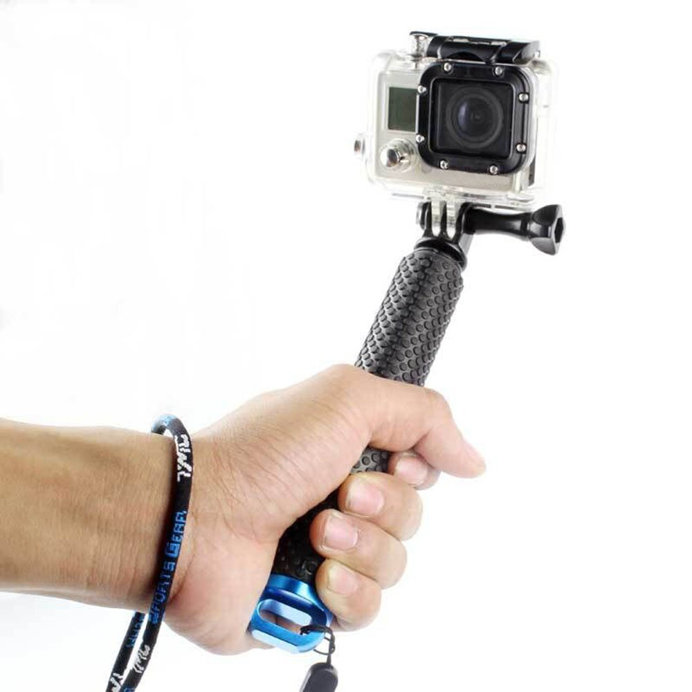 iGank Extendable Selfie Stick for GoPro Hero 5, Hero 4 3 3+ 2. Telescope Water Sport Hand Grip for Action Camera (Blue)