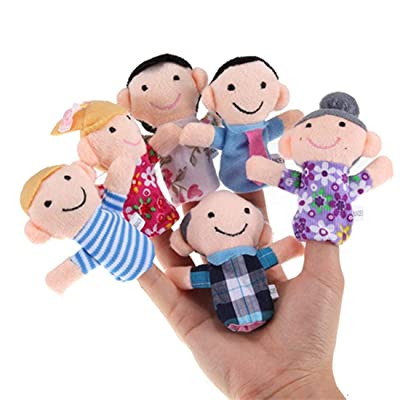 Heyuni.6pcs Family Finger Puppets - People Includes Mom, Dad, Grandpa, Grandma, Brother, Sister: Arts, Crafts & Sewing