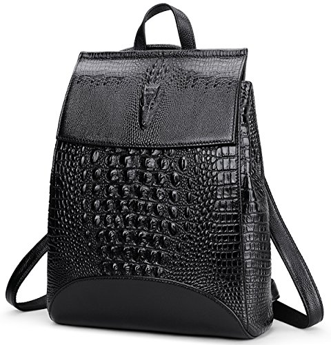 Sophisticated Satin Purse - Coolcy New Fashion Casual Women Genuine Leather Backpack Shoulder Bag (Black2)