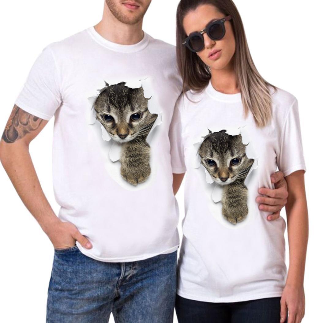 Venmo Pareja Camiseta Set Gato Impresión Hombres Mujer Casual Fashion Tops Tees, San Valentín Amante Pareja
