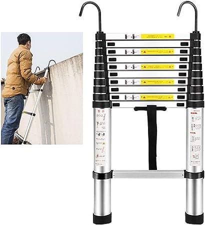 Escaleras Telescópicas Multifunción Escalera telescópica extraíble con ganchos, plegable for trabajo pesado de extensión Escalera de Aluminio, Grat de Ingeniería de bricolaje Loft acceso, carga 330lbs: Amazon.es: Hogar