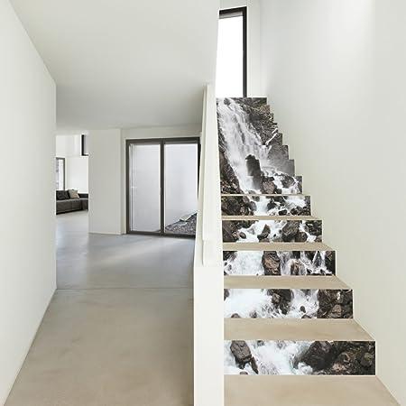 QTZS Cascada 3D Paisaje Escalera Dormitorio Renovación Dormitorio DIY Decorativo Pegatinas De Pared 13 Unids: Amazon.es: Hogar