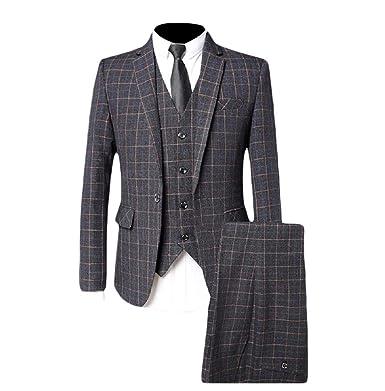 Aooword-men clothes Traje de negocios rejilla 1 botón rendimiento ...