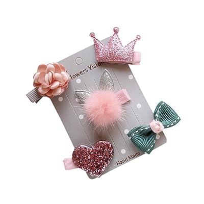 ❤️ Zolimx 5Pcs Niños Infantiles Horquilla Niña Arco de Flores Barrettes Estrella Clip de Pelo Conjunto (Rosa): Ropa y accesorios