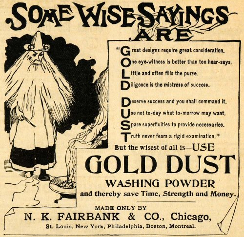 1893 Ad N. K. Fairbank Gold Dust Washing Powder Wizard Household Cleaning Chores - Original Print (Fairbanks House)