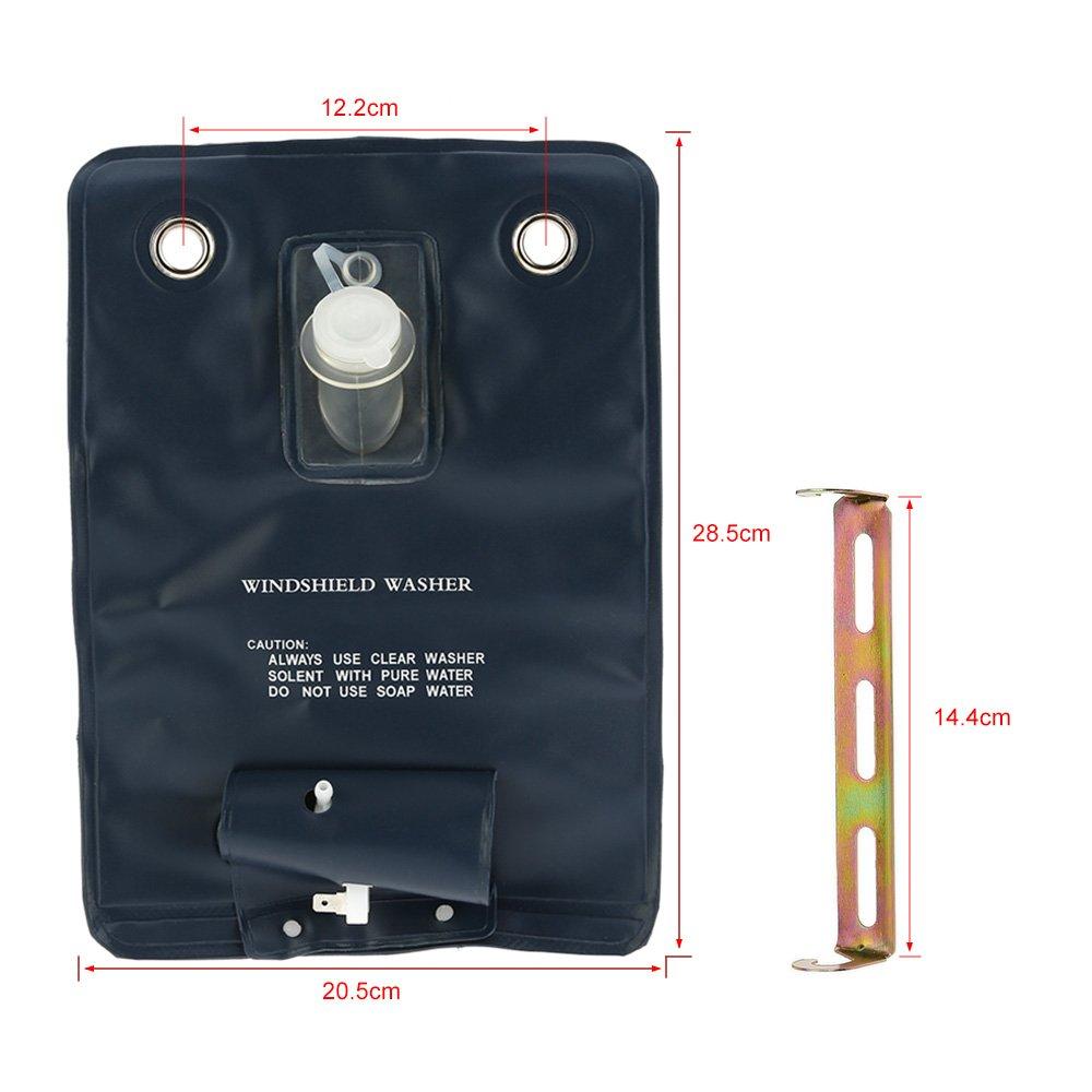 KKMOON Pare-brise 12V Universal Kit Bag Pump Washer Avec Bouton Jet Commutateur pour Voitures classiques