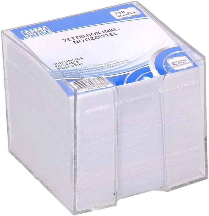 Wei/ß TTO Zettelbox gef/üllt mit losen Notizzetteln 83x83x75mm