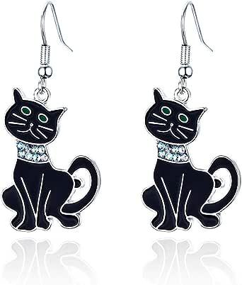 RareLove Gothic Halloween Costumes Earrings Black Cat Dangle Earrings For Women Girls Alloy Plated
