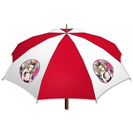 "Paraguas Personalizado, Diseño ""Gisele Bündchen Artwork © Sid Maurer"" rojo-blanco"