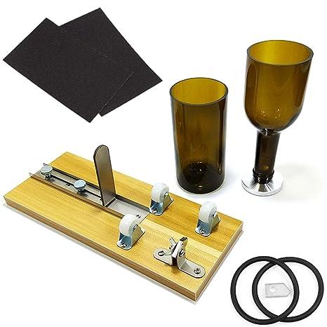 advcer vino botella de cristal Cortador Máquina – ajustable Base de madera botella herramienta de corte