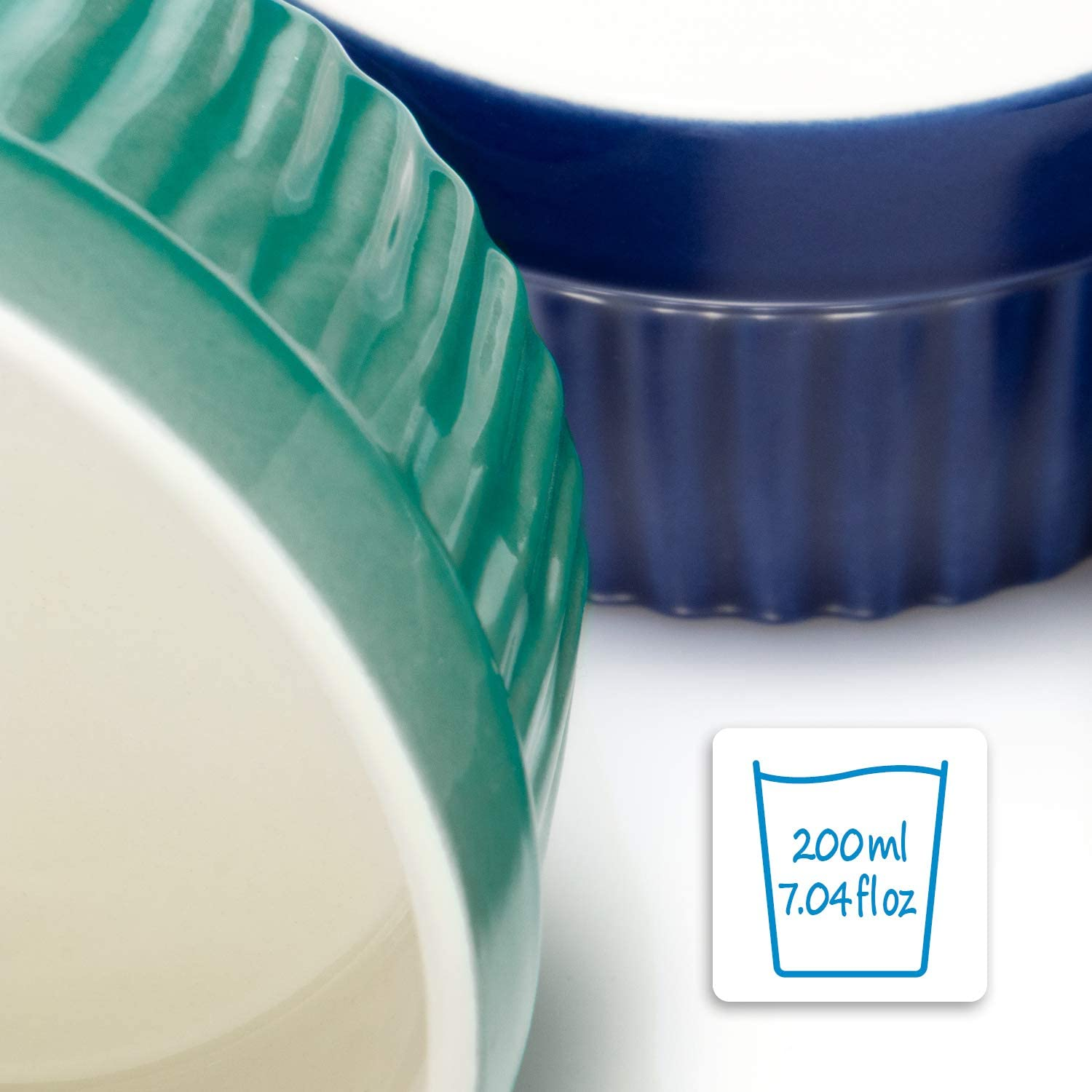 ovenproof Souffl/é Dishes Ramekin Dishes and Pate Moulds for eg Ragout fin in Different Shades of Blue Creme Brulee Ceramic Bowls Each 200 ml COM-FOUR/® 6X Ceramik Ramekins