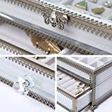 PuTwo Jewelry Boxes 22 Sections Metal Glass Jewelry