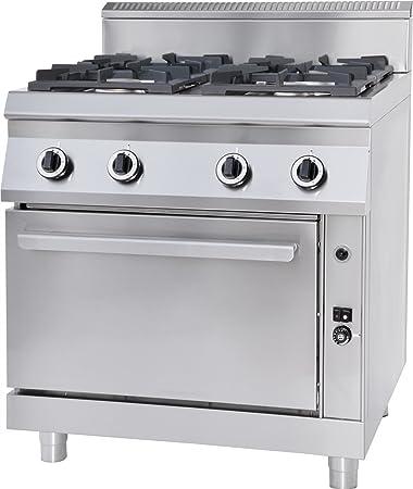 GAM Gastro - Cocina de gas (6 fuegos, 120 cm de ancho, con horno ...