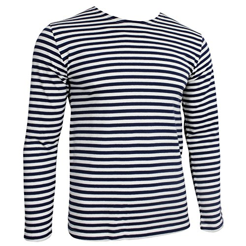 Genuine Russian Navy Blue TELNYASHKA Striped Long Sleeved T-Shirt Top (44