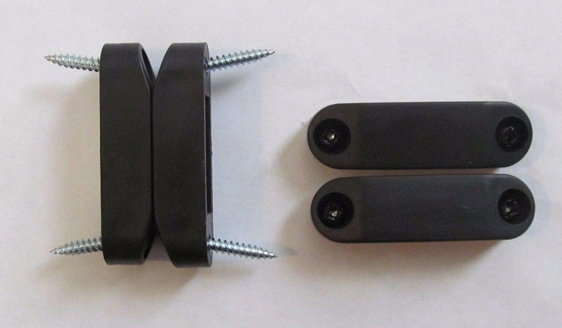 (KS) 1 Set BLACK High Strength Magnetic Baggage Door Catch Holder Cabinet Screws RV - 2 3/8'' Long x 1/2'' High x 5/8'' Wide - 1 male & 1 female & 4 screws