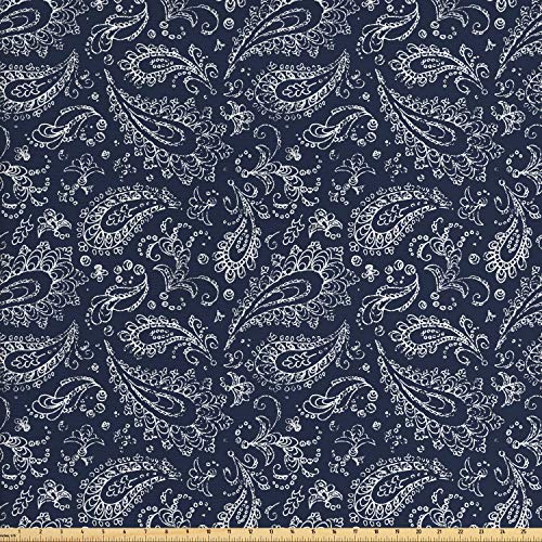 (Ambesonne Paisley Fabric by The Yard, Vintage Ornament Bohemian Motifs with Grunge Look Hand Drawn Style Pattern, Decorative Fabric for Upholstery and Home Accents, 2 Yards, Dark Blue and White )
