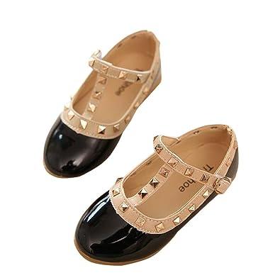 BININBOX Girls Rivet Flat Girls Dress Shoes Pu Leather Dancing Ballet Shoes  (5.5 M US 50b1ba9f78df