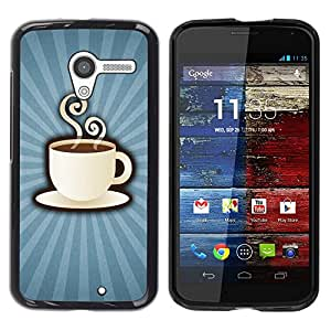 PC/Aluminum Funda Carcasa protectora para Motorola Moto X 1 1st GEN I XT1058 XT1053 XT1052 XT1056 XT1060 XT1055 Coffee Cup Mug Steaming Drink Caffeine Art / JUSTGO PHONE PROTECTOR