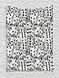 Ambesonne Casino Decorations Collection, The Dices Close up Abstract Monochromatic Chaotic Crowded Gaming Houses Print, Bedroom Living Room Dorm Wall Hanging Tapestry, Gray and Black