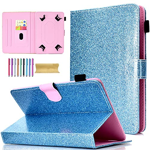 7 Inch Universal Tablet Glitter Case, Motie Stand Wallet Cover for Samsung/Amazon Kindle fire 7.0 2015 2017/ Fire HDX 7/ Google/KOBO/RCA/Acer/ASUS and More 6.5