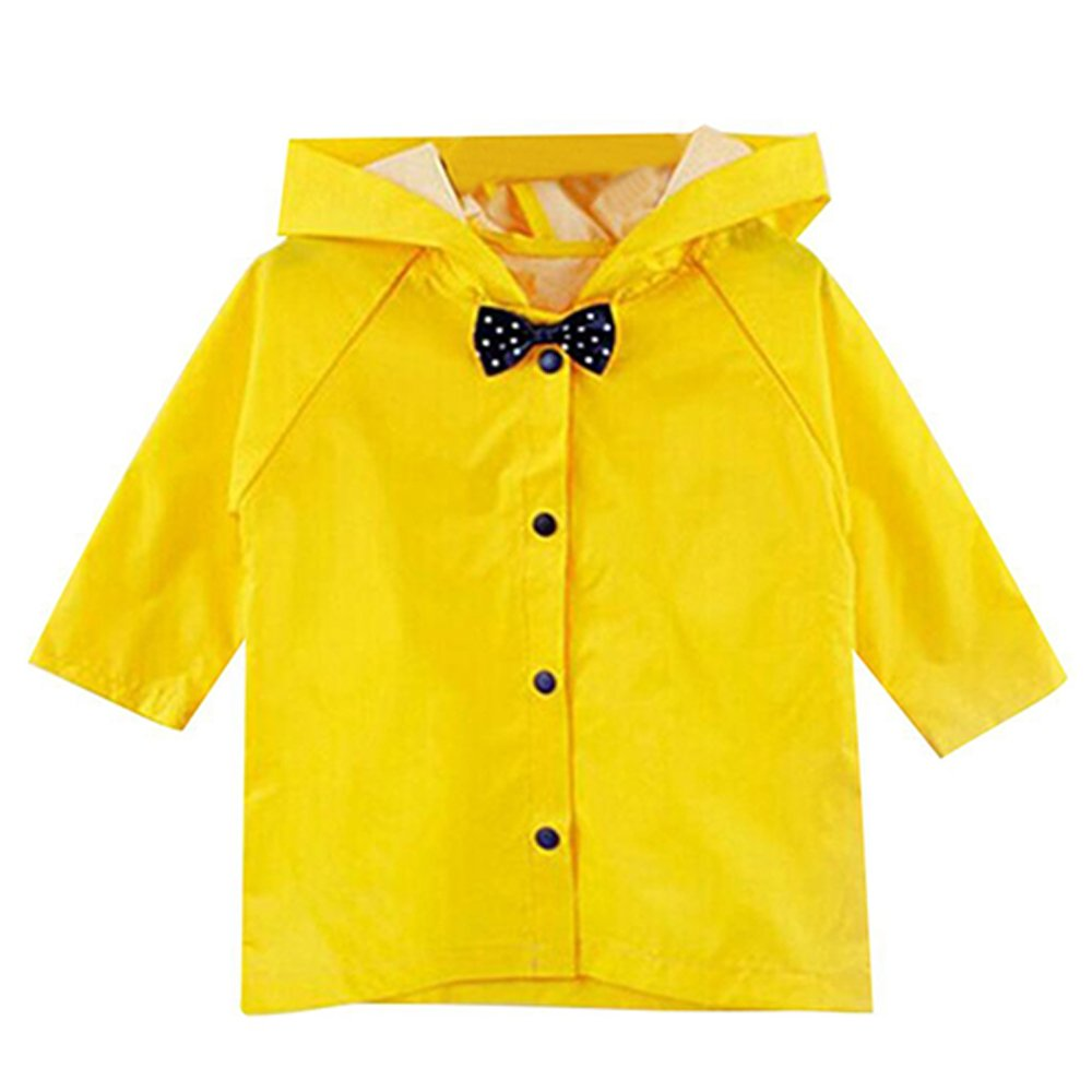 KINDOYO Bow Tie Lovely Kids Raincoat with Button Rainwear Boys and Girls
