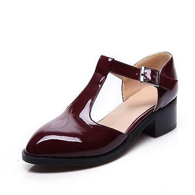 c9abb0096f1deb AllhqFashion Damen Schnalle Niedriger Absatz PU Leder Gemischte Farbe Rund  Zehe Pumps Schuhe