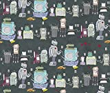 Spoonflower Contest Fabric Awkward Moments In Unorthodox Robot Love by Sammyk Printed on Cotton Poplin Ultra Fabric by the Yard by Spoonflower