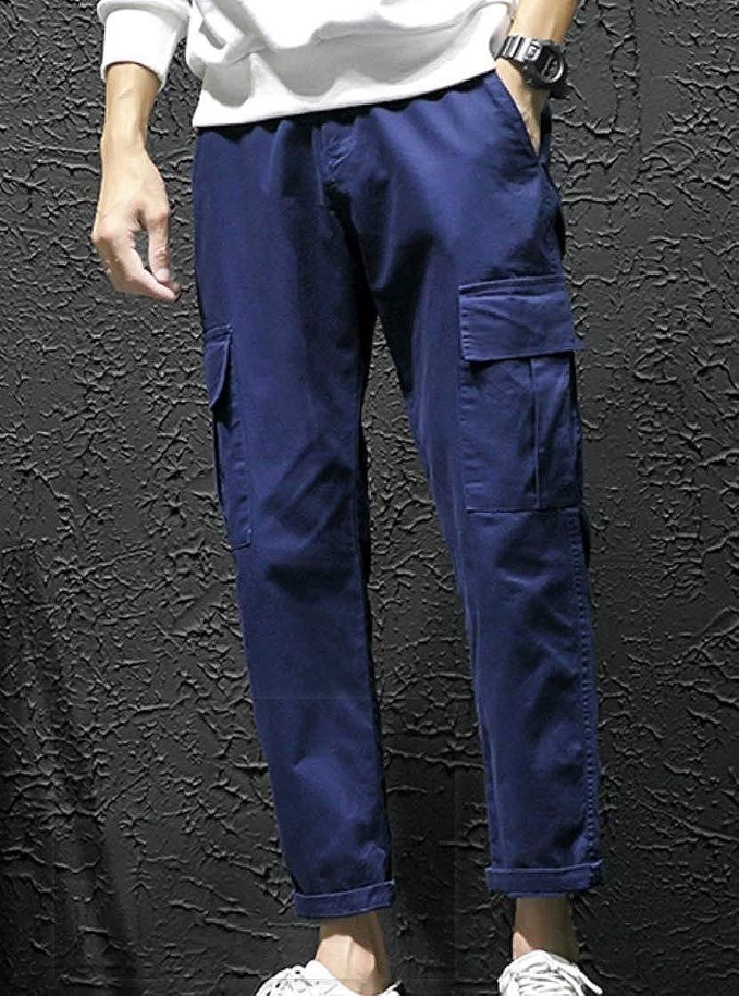 YUNY Men Solid Multi-Pockets Straight Casual Cargo Combat Work Pants Dark Blue 28