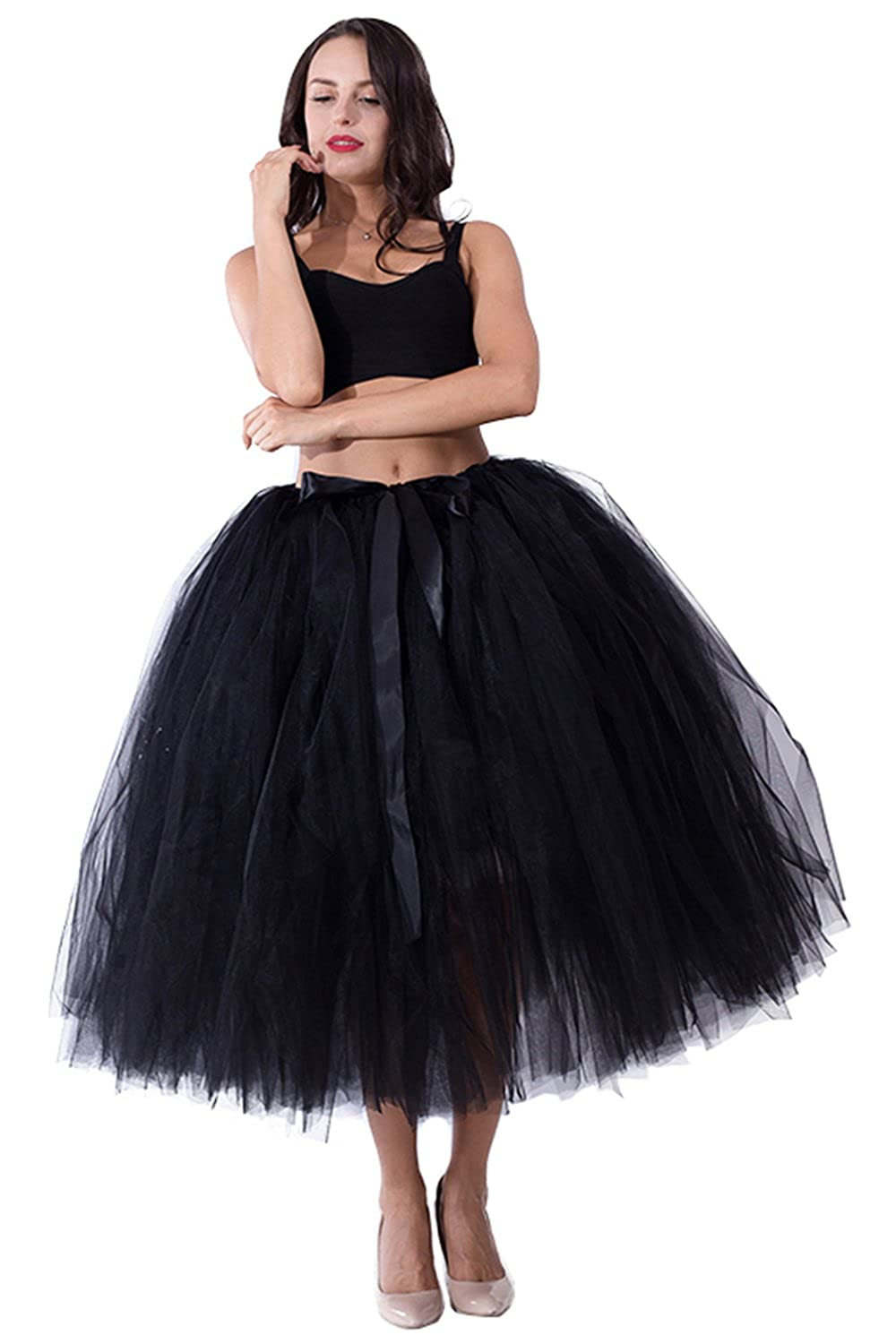 7a1a36780 Handmade Adult Tutu Tulle Skirt for Women 31.5 Inch Long Photography  Wedding Party Skirts Black at Amazon Women's Clothing store: