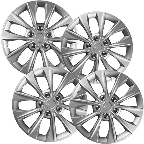 (16 inch Hubcaps Best for 2014-2016 Toyota Camry - (Set of 4) Wheel Covers 16in Hub Caps SIlver Rim Cover - Car Accessories for 16 inch Wheels - Snap On Hubcap, Auto Tire Replacement Exterior Cap))