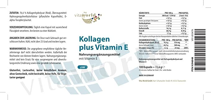 Colágeno 500mg + Vitamina E 30mg 100 Cápsulas Vita World Farmacia Alemania: Amazon.es: Salud y cuidado personal
