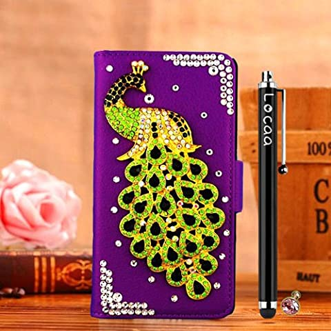 Locaa(TM) HTC One M8 (HTCM8 HTC M8) 3D Bling Peacock Case + Phone stylus + Anti-dust ear plug Deluxe Luxury Crystal Pearl Diamond Rhinestone eye-catching Beautiful Leather Retro Support bumper Cover Card Holder Wallet Cases [Peacock Series] Purple case - Green (M8 Cell Phone Case Wallet)