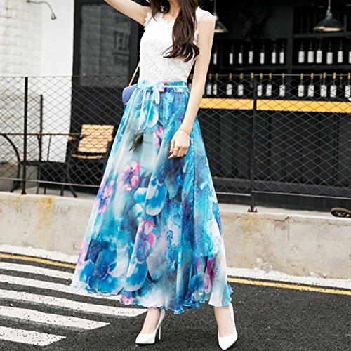 Longue Maxi Femme Fashion Startreene Casual Fleur Haute Taille Bleu Lger Chiffon Jupe Imprim Ceinture A5Ew7q