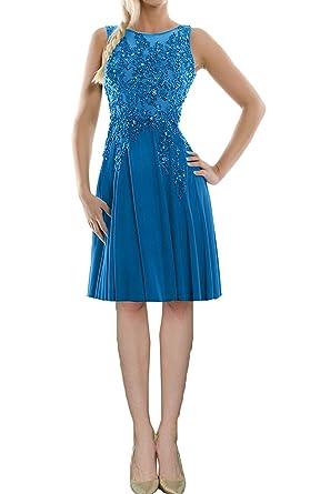 abschlussball kleider blau knielang