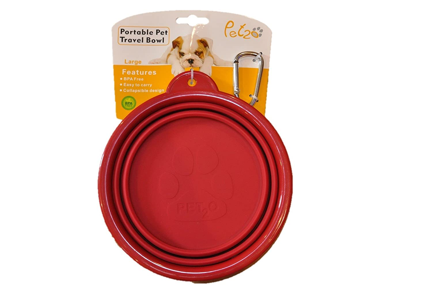 Dull Red Pet20 Pet2o Collapsible Silicone Food & Water Travel Bowl w Carabiner for Dogs & Cats, Large(5 Cups 42oz) (Dull Red)
