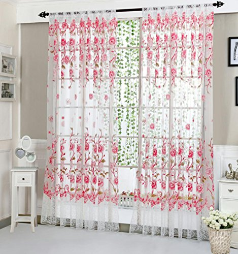 Vanvler Peony Tulle Sheer Curtains - Window Drapes Floral Valance Panel (Pink) ()