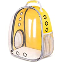 Bubble Backpack Pet Carrier, Portable Big Cats/Dog Backpack Carrier Bubble - Large Space Capsule Bubble Panoramic Transparent Breathable Handbag Outdoor Travel Rucksack (Yellow)