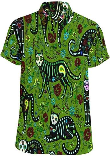 InterestPrint Men Regular Fit Leopard Print Casual Button Down Short Sleeve Shirt