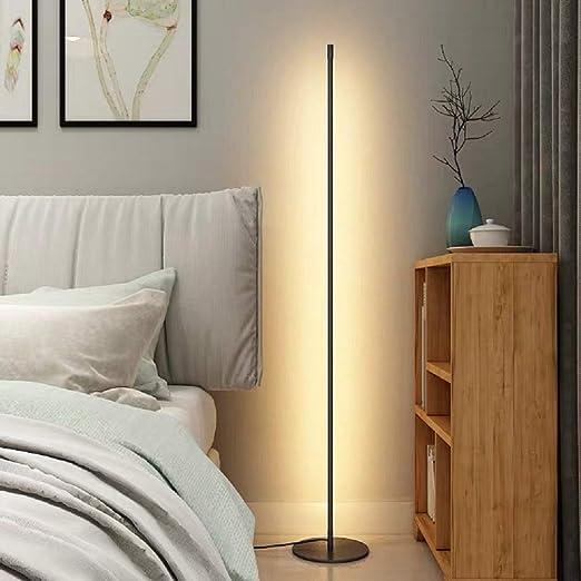 UFLIZOGH Lámparas de Pie para Salon 150cm 16W de Lámpara de Suelo Moderna con 3000K Temperaturas de Color para Dormitorio Estudio Oficina: Amazon.es: Iluminación
